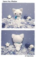 Snow Fox Plushie by littlepaperforest