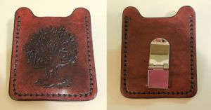 Tree Carved Leather Card Wallet by JN-Leather