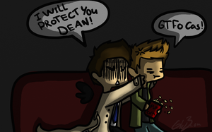 Day 3 - watching a movie (destiel) by Castielogically