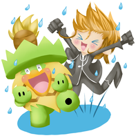 .::demyx and ludicolo in the rain::.