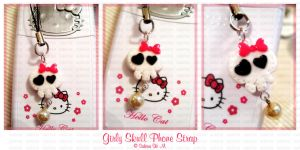 Girly Skull Cell Phone Strap by ChocoAng3l