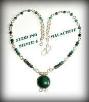 Malachite and silver necklace by marsvar