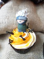 Kakashi Cupcake by I-am-Ginger-Pops