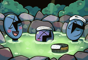 Soaking in the Onsen by Twime777