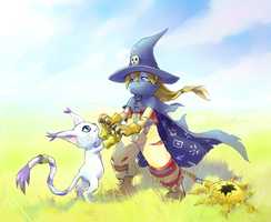 Wizardmon and Tailmon by Aikorn