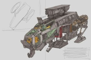 Construction Ship Cutaway WIP by MikeDoscher