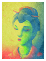 Weird-coloured geisha by saurien