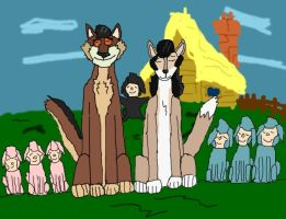 A wolf couple with 7 kids by SilverZeo
