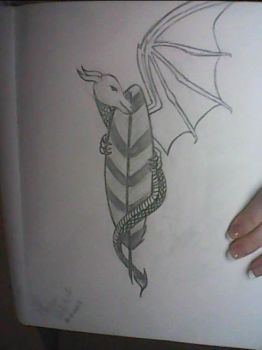 Dragon And Quill Tattoo by ArtisticBabyGirl2