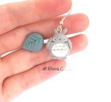 Totoro earrings by elvira-creations