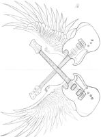 winged guitars by darkangelblood