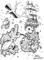 Tattoo Flash Page 01 COMMISSION by JTIllustrations