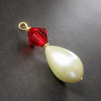 Ruby and Pearl Teardrop Charm by Gilliauna