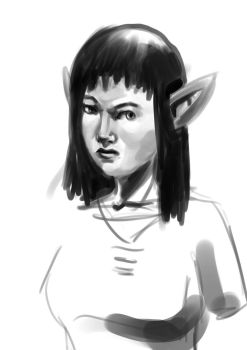 Elven woman sketch by CoreyBass