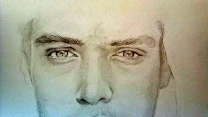 Jude Law Eyes Drawing by Sampl3dBeans