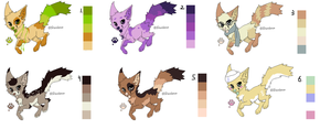 Color Pallet Adopts!! by BlackBloodedKitten