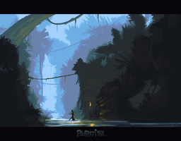 Rainforest and an elf in water. by ebeni92