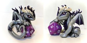 Jumbo Dice Dragon: Silver and Purple - AUCTION! by Shemychan