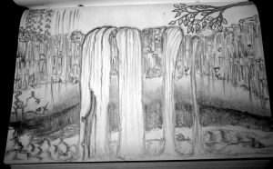 Black and White Waterfall by Thenextera