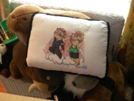 Heero and Duo Cloud Pillow by LinkWorshiper