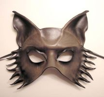 Grey Brown Leather Wolf Mask by teonova