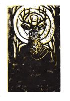 Robed Elk: Linocut by CannedTalent