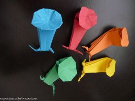 Origami Snails by OrigamiPieces