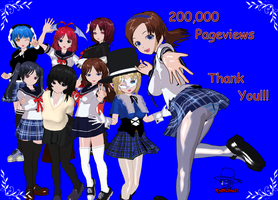 3DCG my OC's: 200,000 Pageviews by RedFalcon23