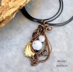 Moonstone wire wrapped pendant 2 by IanirasArtifacts