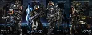 4 Part FanArt Poster: Reach, Halo, ODST, Halo Wars by rs2studios