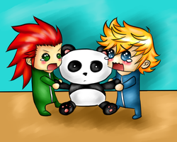 Axel And Roxas Want The Panda by KyuketsukiKokoro