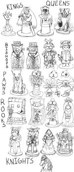 Okami Chess Set Sketches by ChibiSilverWings