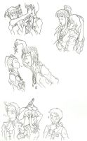 Anime couples sketches by SayokoHattori