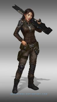 rebellion female soldier : character design by macarious