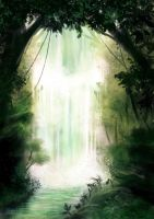 Mystic Waterfall - Speed Painting by Aliciane