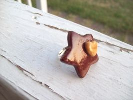 Brown and gold starXheart ring by jely-claris-anne