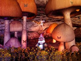 Gnome Fairy Scene Version II by webgoddess
