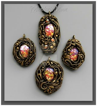 Poseidon's Treasure Polymer Clay Pendants by MandarinMoon