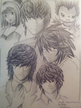 Death Note characters by Kirashii