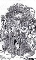 Game Of Hearts The Keyblade Throne (Lineart) by AuronTsubaki1985