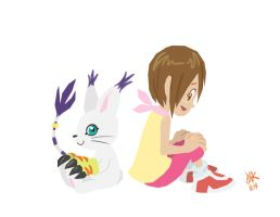 Kari and Gatomon by CantonKid