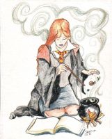 Ginny Practicing Potions by astraldreamer