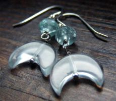 Aqua Moon Earrings by MoonLitCreations