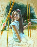 Painting little girl on a swing by Drawing-Portraits