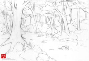 Forest line art by nai-XaIn