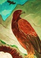 Eagles on a high mountain by Emy4ART