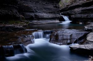 Dusk falls at Buttermilk Falls by avjake