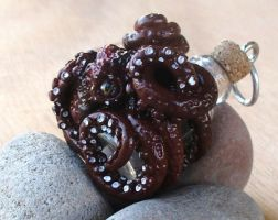 Octopus Jewelry - Octopus Bottle Pendant by CaterpillarArts
