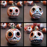 Day of the Dead Pumpkin Heads by FlyingSaucerTeacup