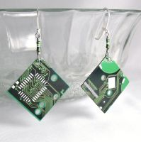 Circuit Board Green Diamond Earrings by Techcycle